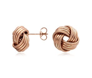 Grande Love Knot Earrings in 14k Rose Gold