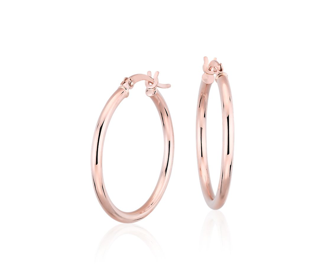 "Medium Hoop Earrings in 14k Rose Gold (1"")"