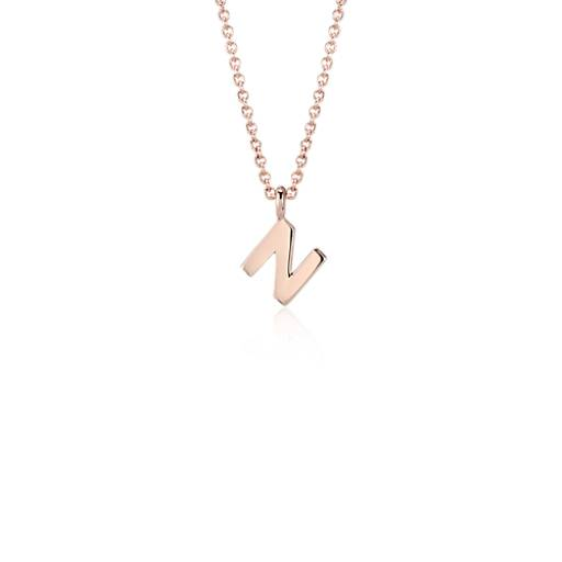 """N"" Mini Initial Pendant in 14k Rose Gold"