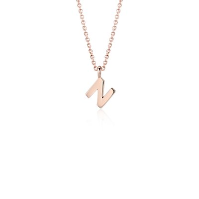 Pendentif petite initiale «N» en or rose 14carats