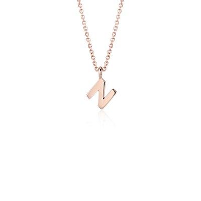 """""""N"""" Mini Initial Pendant in 14k Rose Gold"""