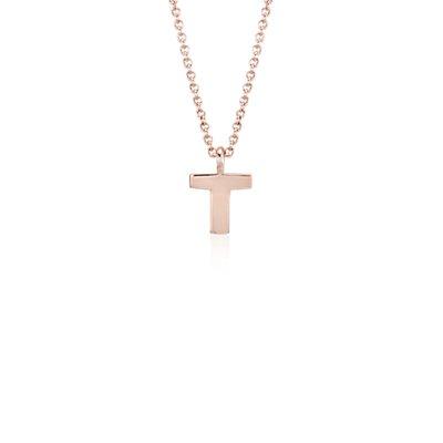 Pendentif petite initiale «T» en or rose 14carats