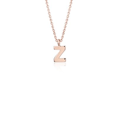 """Z"" Mini Initial Pendant in 14k Rose Gold"