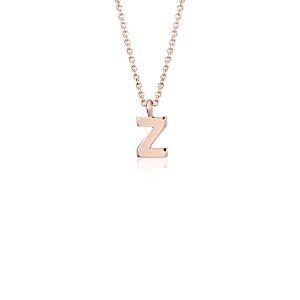 Pendentif petite initiale «Z» en or rose 14carats