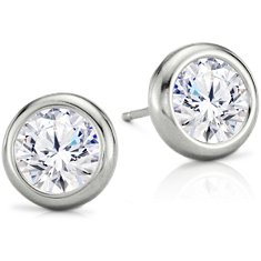 Boucles d'oreilles serties en Or blanc 14 ct