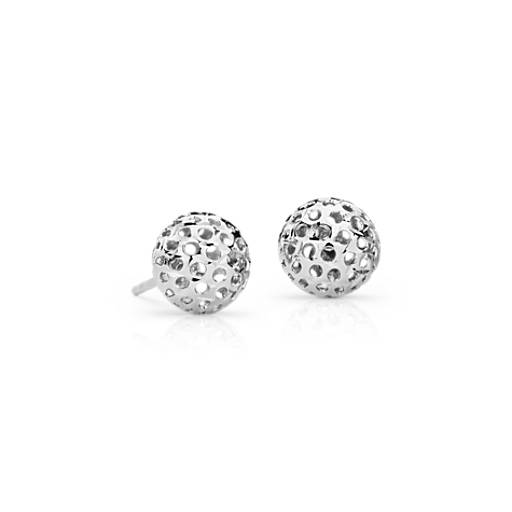 Carved Ball Stud Earrings in 14k White Gold (8mm)