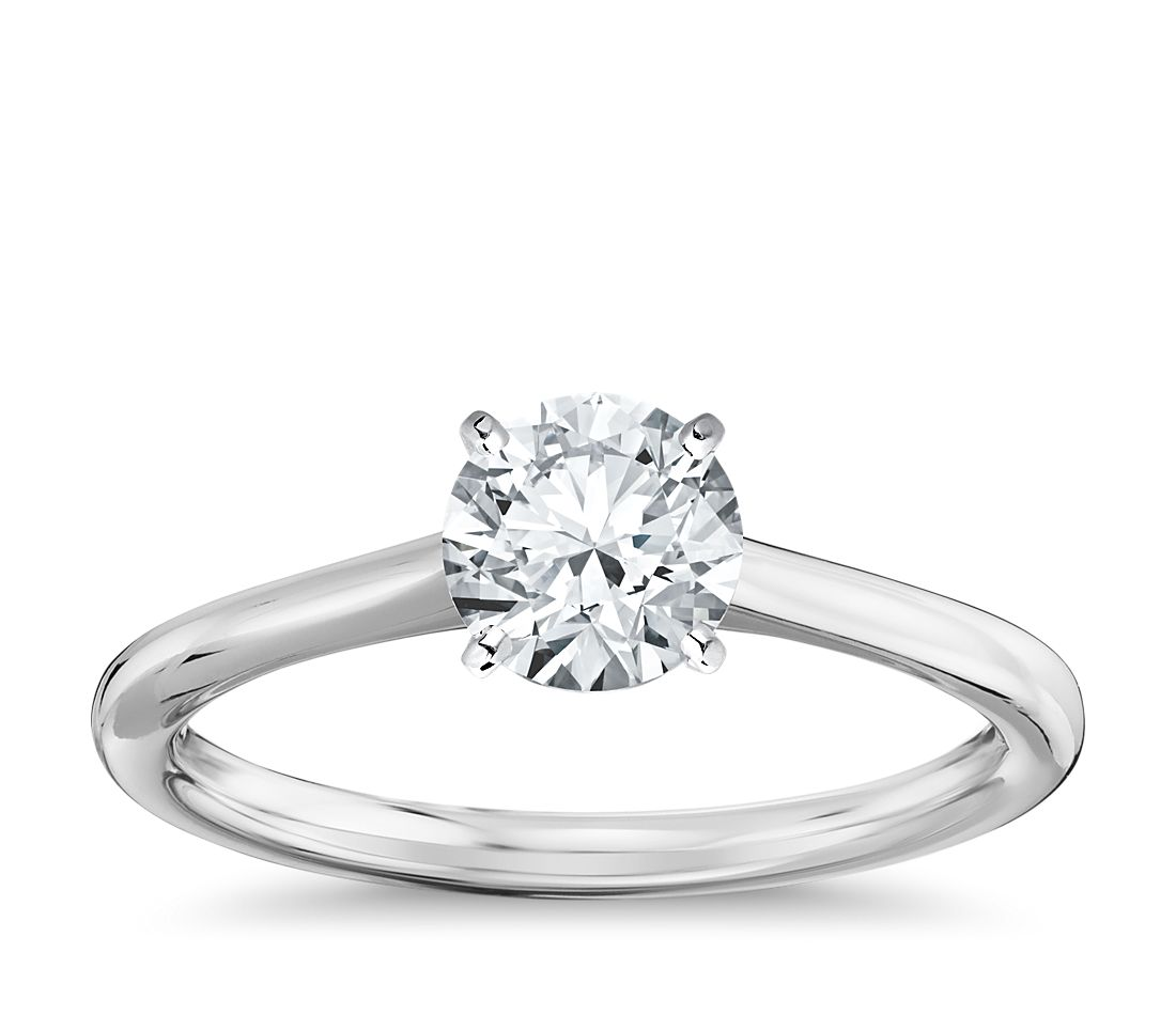 petite solitaire engagement ring in 14k white gold blue nile. Black Bedroom Furniture Sets. Home Design Ideas