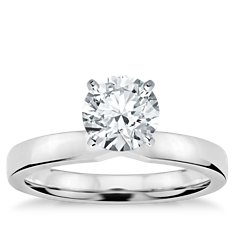 Low Dome Comfort Fit Engagement Ring in 14k White Gold (2.5 mm)