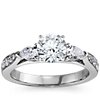 Pear Shape & Pavé Diamond Engagement Ring in 14k White Gold