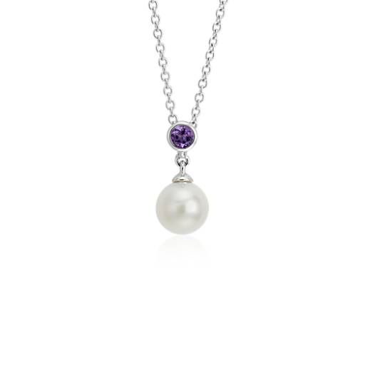 Freshwater Cultured Pearl and Amethyst Pendant 14k White Gold