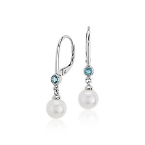 Freshwater Cultured Pearl and Blue Topaz Drop Earrings 14k White Gold (6.5mm)