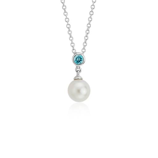 Freshwater Cultured Pearl and Blue Topaz Pendant 14k White Gold (7.5mm)
