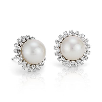 Freshwater Cultured Pearl and Diamond Halo Earrings in 14k White Gold (10mm)