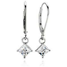 Four-Prong Leverback Dangle Earrings in Platinum