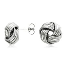 Grande Love Knot Earrings in 14k White Gold