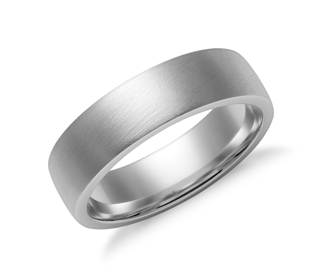 White Gold Bands: Matte Low Dome Comfort Fit Wedding Ring In 14k White Gold
