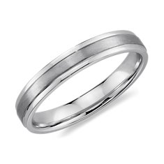 Ridged Wedding Ring in 14K White Gold (4mm)