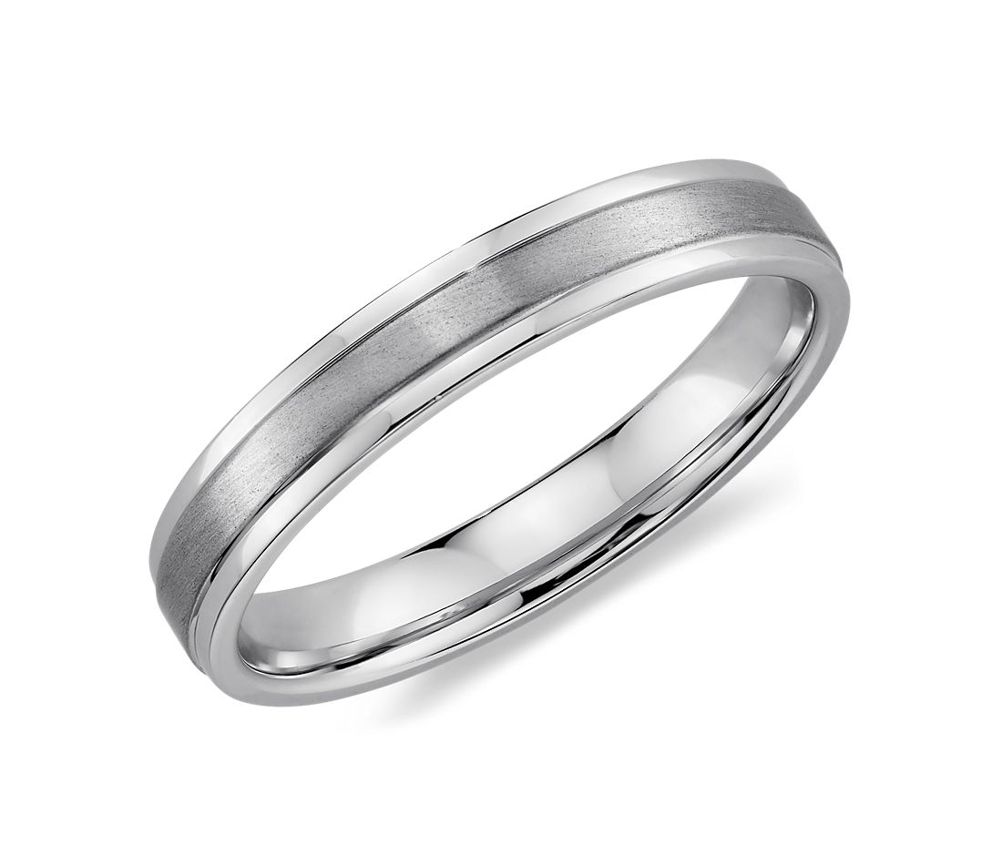 brushed inlay wedding ring in 14k white gold 4mm blue nile