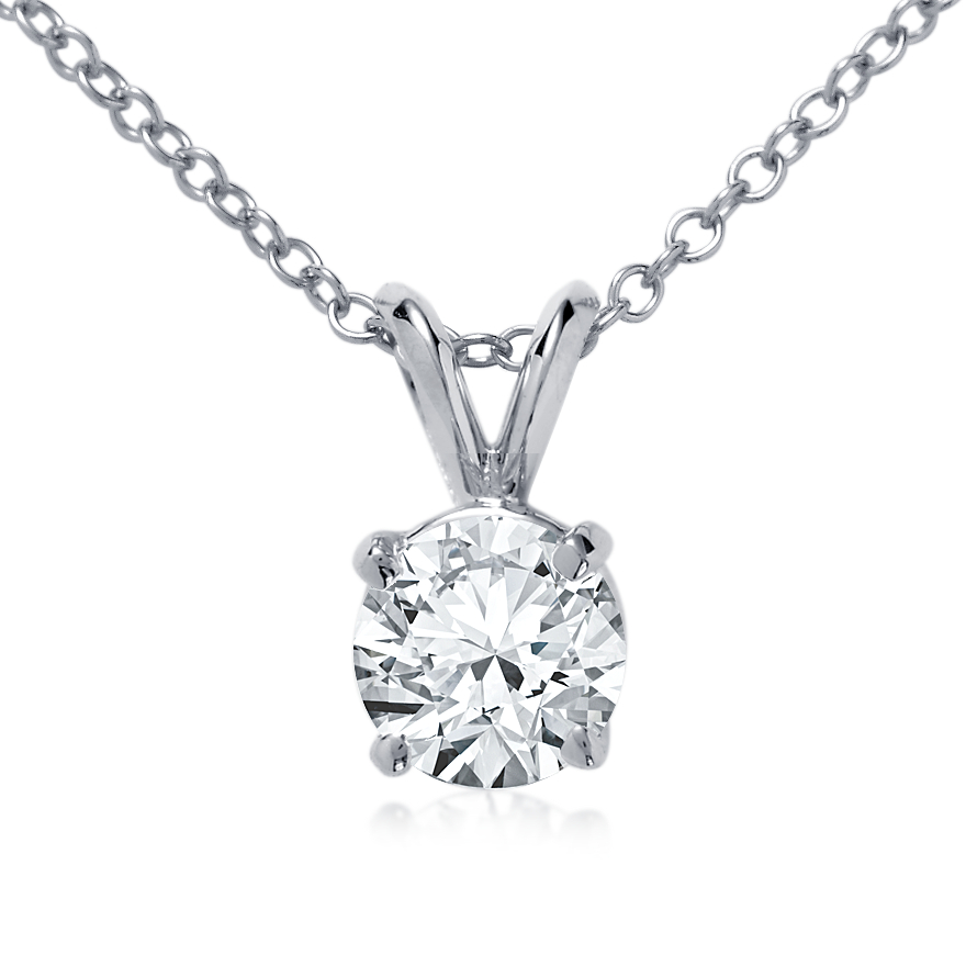 Double Bail Solitaire Pendant Setting in 14k White Gold