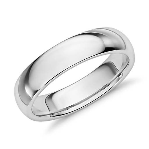 Comfort Fit Wedding Ring in 14k White Gold (5mm)