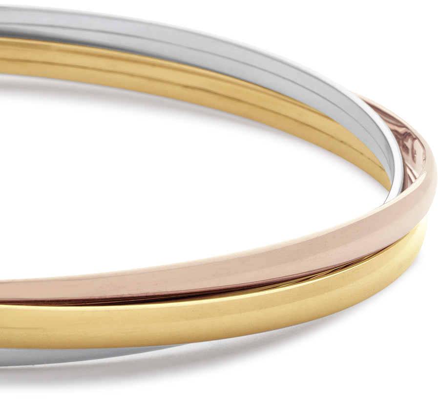 Trio Bangle Bracelet in 14k Yellow, White and Rose Gold