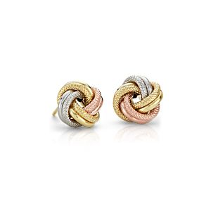 Trio Love Knot Earrings in 14k Tri-Colour Gold