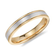 Dual Tone Ridged Wedding Ring in 14K White and Yellow Gold