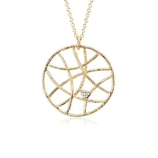 Woven Diamond Circle Pendant in 14k Yellow Gold