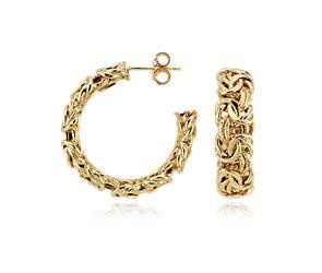 Byzantine Hoop Earrings in 14k Yellow Gold