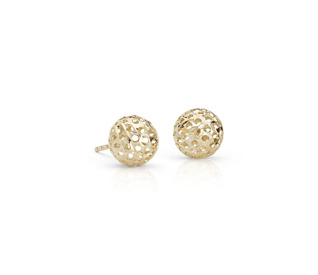 Carved Ball Stud Earrings in 14k Yellow Gold (8mm)