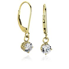 Four Prong Leverback Dangle Earring Settings in 14k Yellow Gold