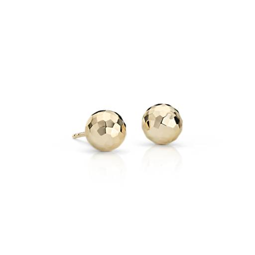 Faceted Ball Stud Earrings in 14k Yellow Gold
