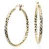Faceted Hoop Earrings in 14k Yellow Gold (1 3/8