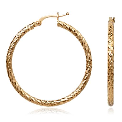 Faceted Hoop Earrings in 14k Yellow Gold