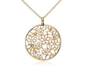 Bouquet Floral Pendant in 14k Yellow Gold