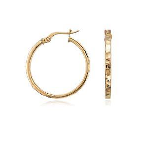 14k 金锤打式圈环形耳环(7/8 英寸)