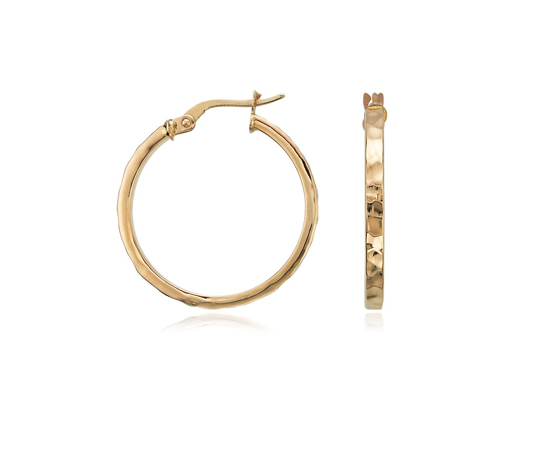 Hammered Hoop Earrings in 14K Yellow Gold