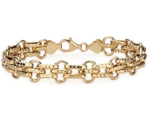 Hammered Oval Link Bracelet in 14k Yellow Gold