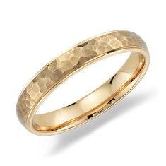Hammered Wedding Ring in 14K Yellow Gold (4mm)
