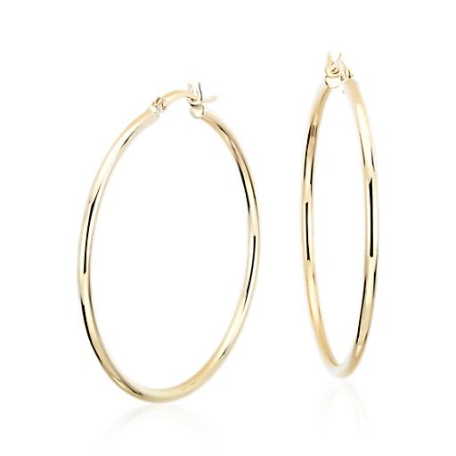 Large Hoop Earrings in 14k Yellow Gold (1 5/8