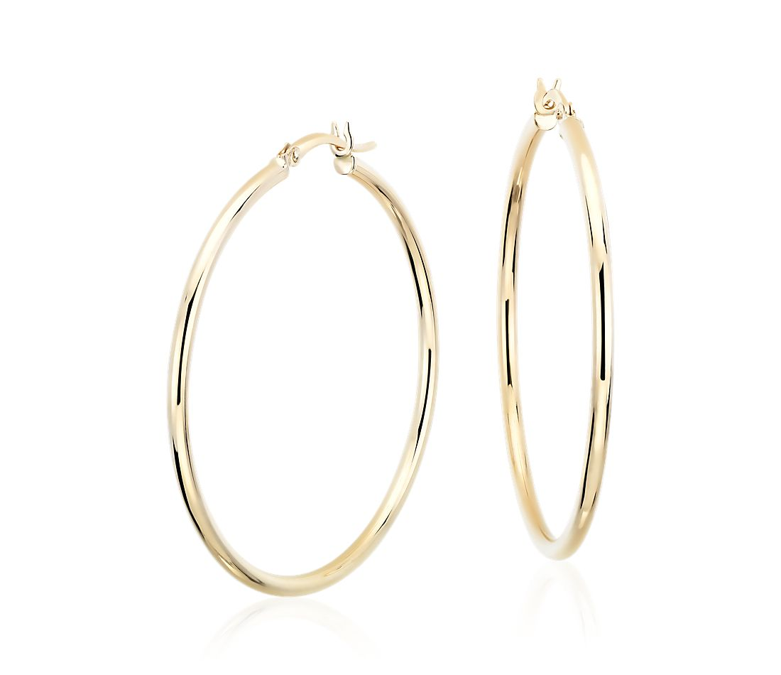 "Large Hoop Earrings in 14k Yellow Gold (1 5/8"")"