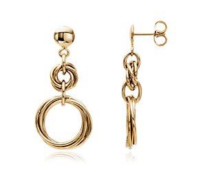 Duet Love Knot Drop Earrings in 14k Yellow Gold