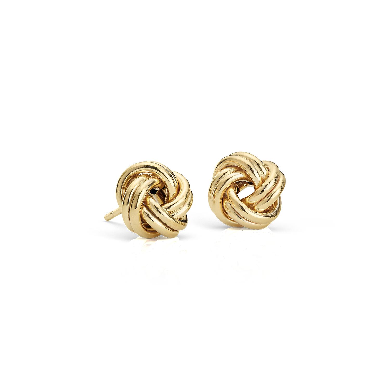 Petites boucles d'oreilles nœud Love en or jaune 14carats