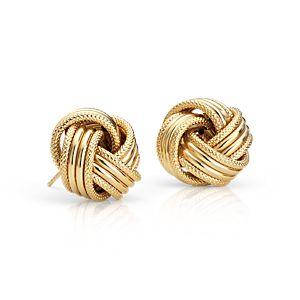 14k 黃金巨型心之結耳環
