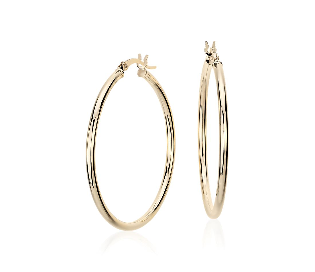 medium hoop earring in 14k yellow gold 1 3 8 quot blue nile