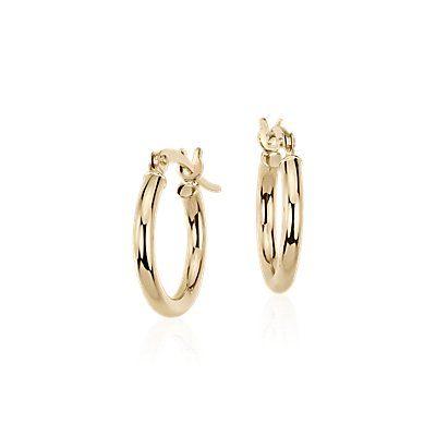 "Small Hoop Earrings in 14k Yellow Gold (5/8"")"