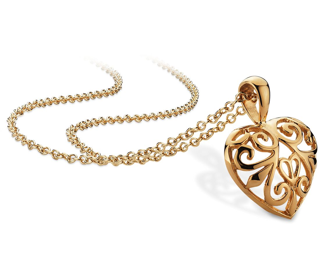 Filigree Open Heart Pendant in 14k Yellow Gold