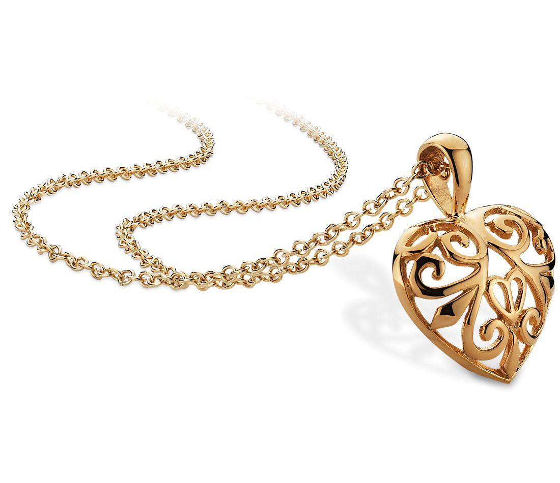 Pendentif cœur ouvert filigrane en or jaune 14carats