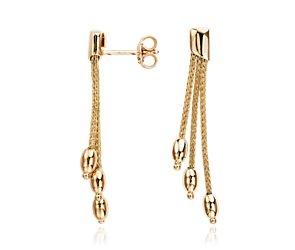 Oval Bead Earrings in 14k Yellow Gold