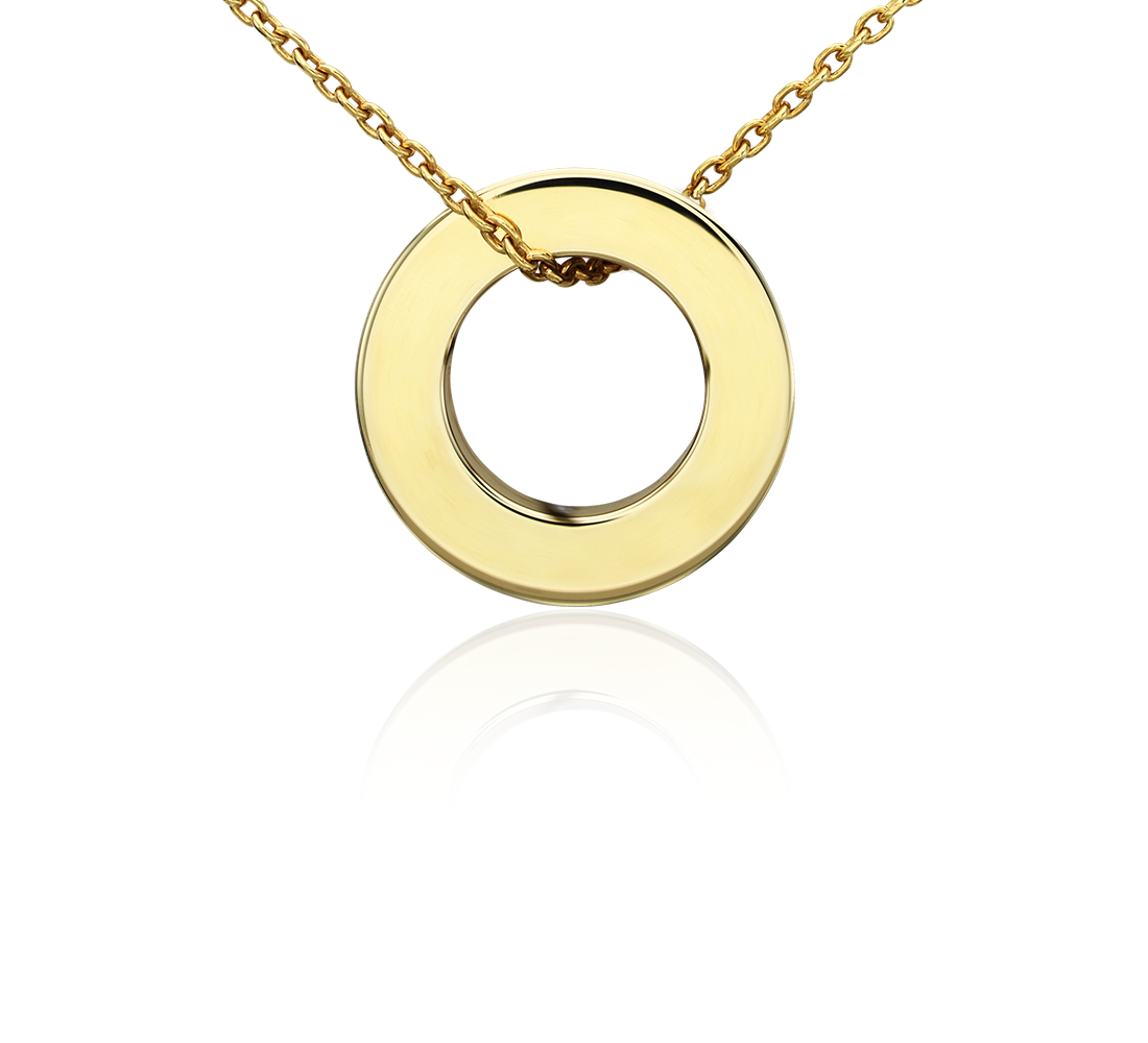 Petite Circle Pendant in 14k Yellow Gold